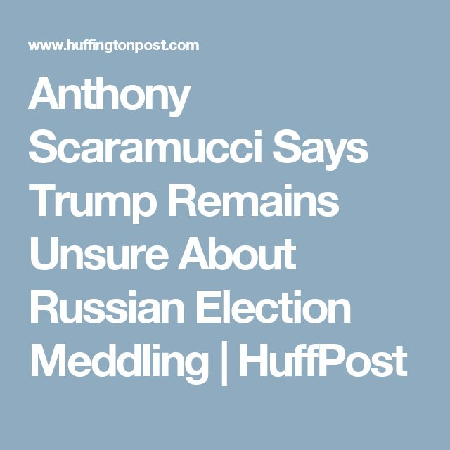 Anthony Scaramucci Says Trump Remains Unsure About Russian Election Meddling   HuffPost