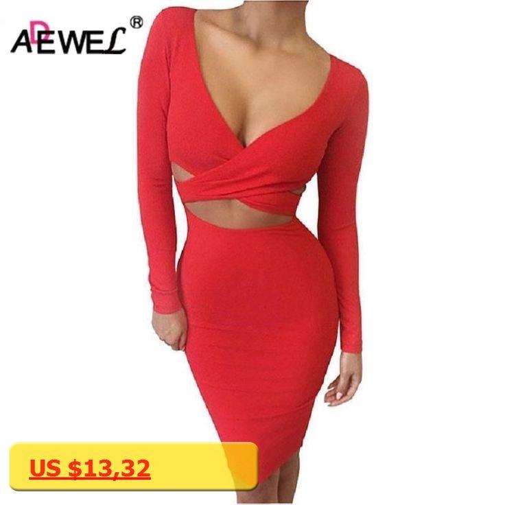 ADEWEL 2017 Autumn Long Sleeve Hollow Out Sexy Club Bandage Bodycon Dress Velvet Inside Elastic Elegant Pencil Party Dresses