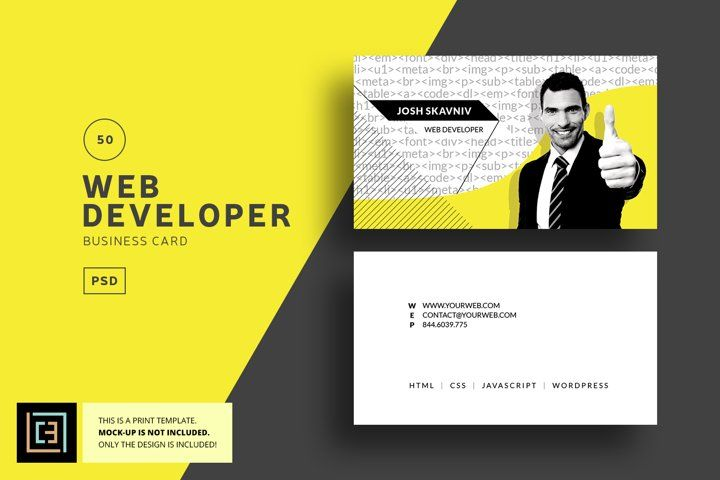 Web Developer Business Card - BC050 (82251) | Business Cards | Design Bundles