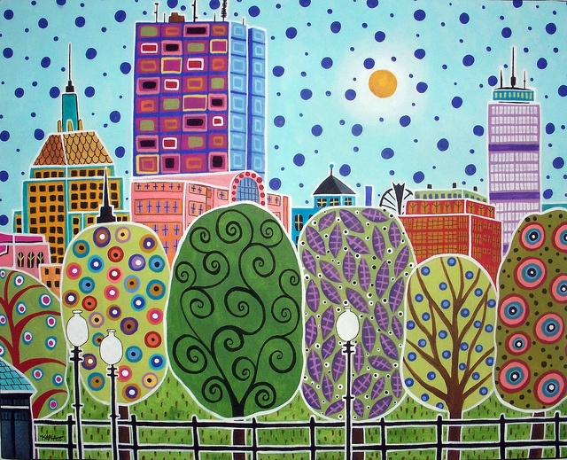 Boston Abstract 20x16 original folk art abstract painting of Boston MA skyline cityscape by Karla G