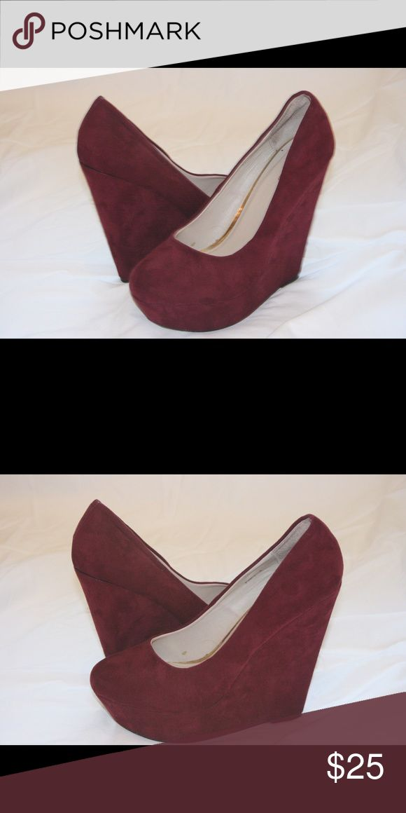Burgundy Wedges Wedges with a suede finish. Shoes Wedges