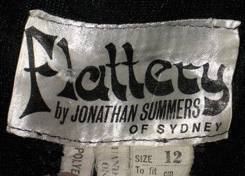 "Jonathan Summers ""Flattery"" label (from early 70's party dress)"