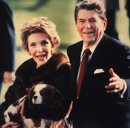 Ronald and Nancy Reagan and their Cavalier