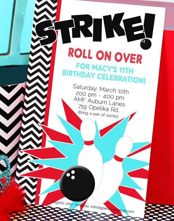 bowling party invitation bowling birthday by amandaspartiestogo