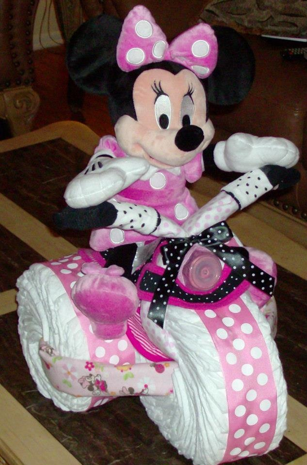 Minnie mouse diaper bike i had made for my wife 39 s baby for Baby minnie decoration ideas