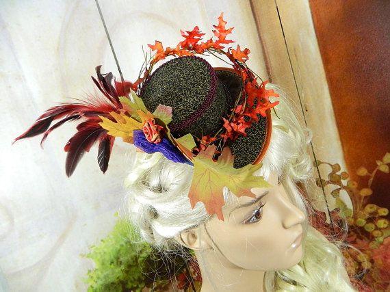Victorian Hat Autumn Leaves Fairy Civil war era Gothic Minihat Steampunk baroque rokoko riding hat summerhat