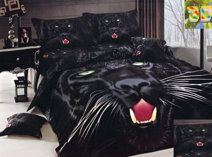 Pościel bawełniana na łóżko w kolorze czarnym z wilkiem