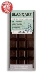 Blanxart 100g. Ciocolata fara zahar, neagra 74%, cu STEVIA
