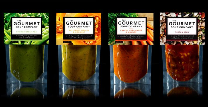 The Gourmet Soup Company. I like how this lets you see the product. I also like how the original ingredients are shown in a photograph around the label, like a background image. Very smart design.