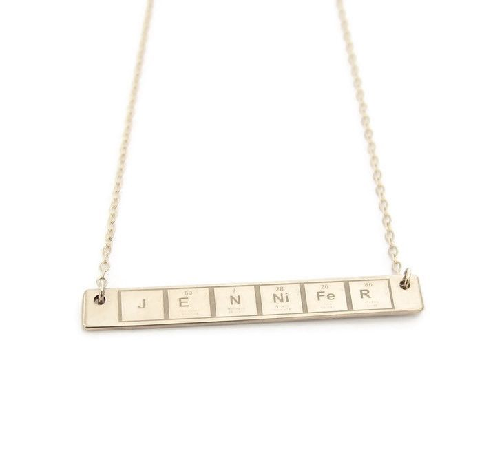 periodic table personalized necklace gold - Au Pendant Periodic Table