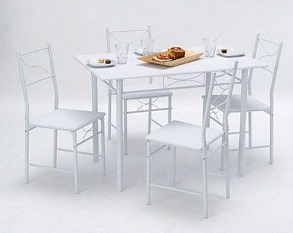 Tischgruppe Amadeo Die Tischgruppe Amadeo besteht aus einem Tisch mit den vier dazu passenden Stühlen. Die ganz in Weiß gehaltene Tischgruppe findet überall zu Hause schnell ein Plätzchen. Auch...