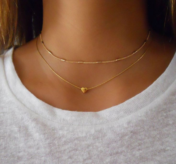 Gold heart Necklace & Tubes Choker – Set of 2 Necklaces (GS435) – annikabella