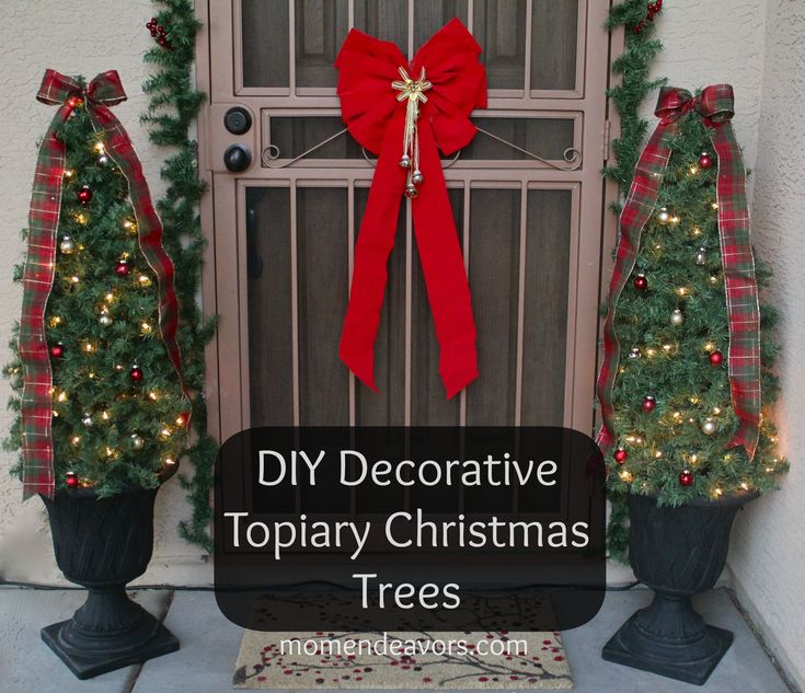 DIY Decorative Topiary Christmas Trees from Mom Endeavors #lowescreator