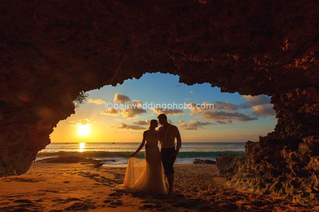 Sunset Cave - honeymoon photo shoot in sunset beach Jimbaran Bali