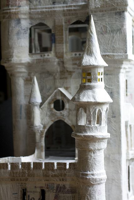 papier maché castle -- would be an awesome kid's doll house or castle!