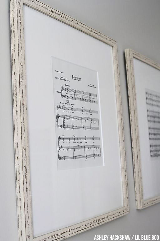 """Nursery Wall Decor Ideas DIY - Print off Sheet Music - Edelweiss """"My dad's favorite song was Edelweiss.  Perry googled """"free printable piano music"""" and printed the sheets onto off-white paper. Frames from Home Goods too."""""""