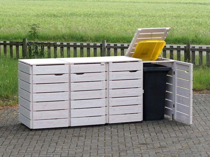 4er Mülltonnenbox Holz 120 Liter