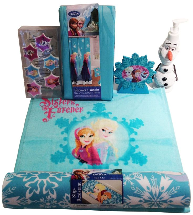 "Disney Frozen Anna, Elsa, Olaf Bathroom Accessories Bundle of 7 Items! The Following Items are in the Disney Frozen Character Line: Shower Curtain 72"" x 72"" & 12 Shower Hooks Olaf Lotion/Soap Dispenser 3"" x 8.5"" & Toothbrush Holder 5"" x 5"" Slip Resistant Tub Mat 30.5"" x 14"" & Hand Towel 14.5"" x 26"" Olaf Bathroom Round Rug, Latex Backing 25"" x 25"" Machine Wash http://livinggood-entrepeneural.blogspot.com/2014/11/towels-as-gifts.html"