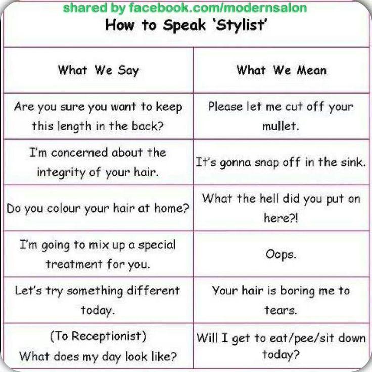 Learn to speak hairstylist | Hair humor |