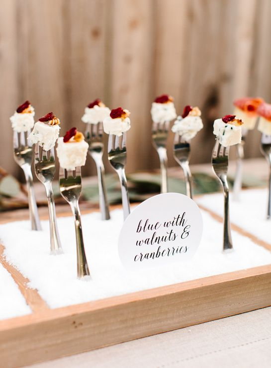 Use dirt field boxes with foam for this dish cheese-fork-wedding-display-tomkat-studio