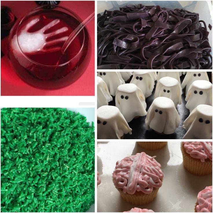 """Ingrediënten voor een spannende spooktocht: groene rijst, paarse pasta, cupcakes als spookje en met """"hersenen"""" als topping. En als afsluiter een hand in de rode ranja 👻"""
