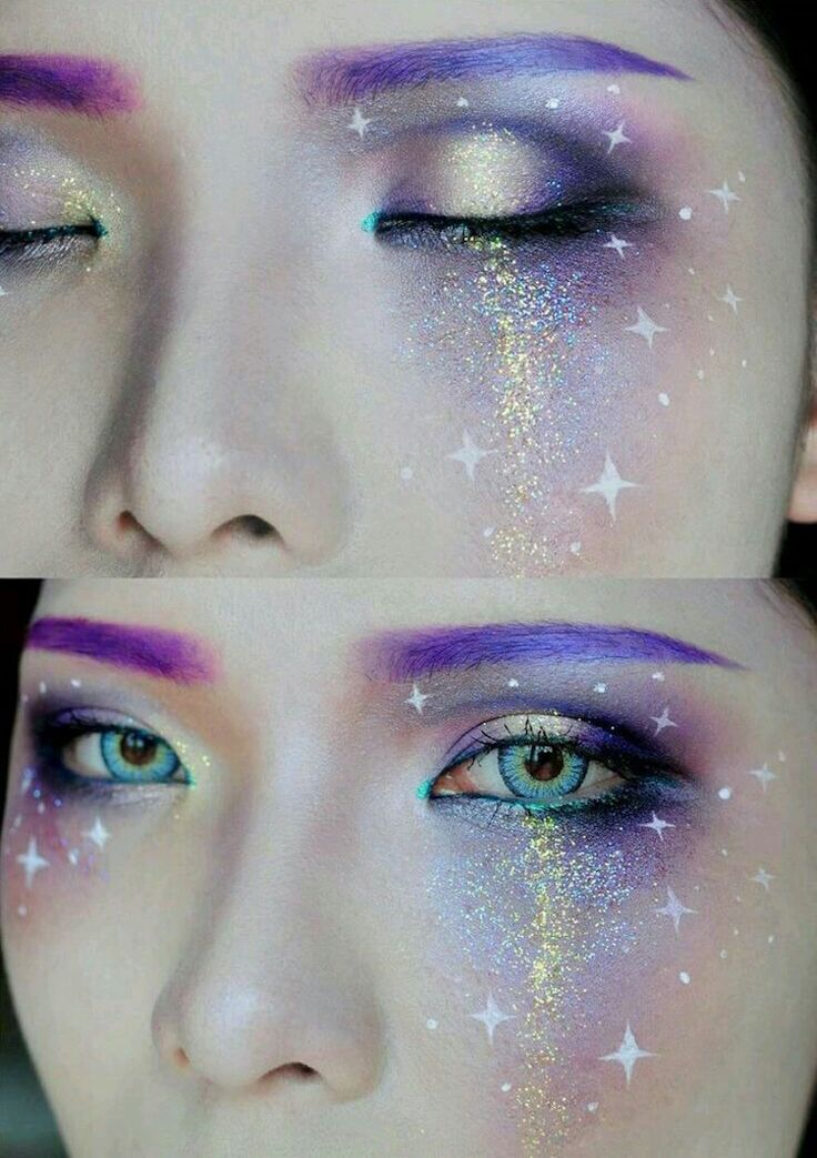 Galaxy Make-up mit vielen Glitzern