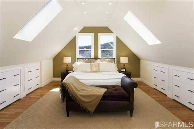 Attic master bedroom second floor plans pinterest awesome window and built ins Master bedroom with sloped ceiling