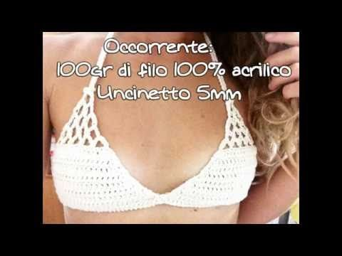 TRIANGOLO BIKINI ALL'UNCINETTO come fare passo passo #7 -- How to crochet a bikini top - YouTube