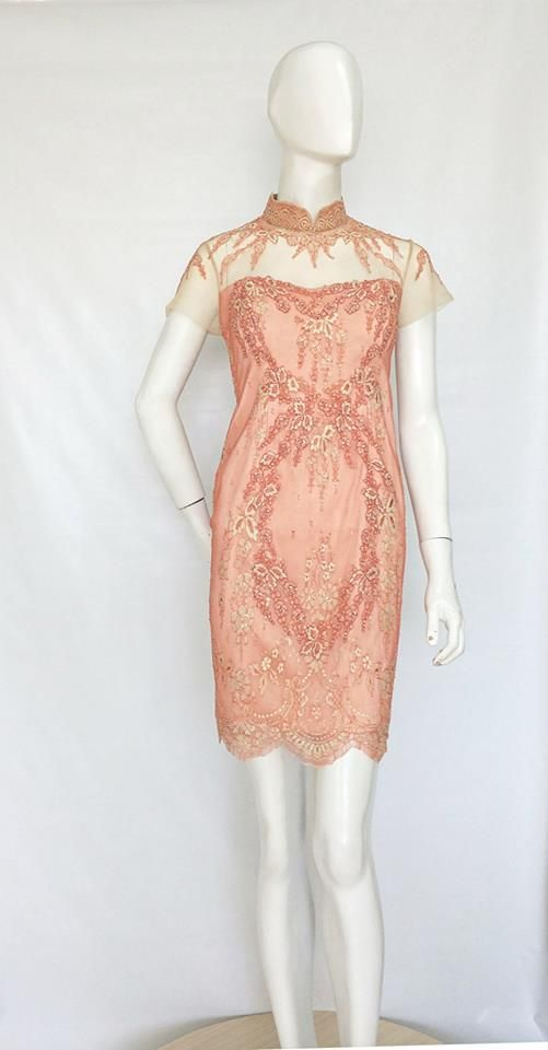 Custom embroidered French Lace Qibao.