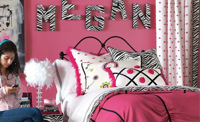 Hot Pink Teen Bedroom Decor from Wayfair! Decorate a hot pink and black bedroom (with a splash of zebra)! Girly, sassy, and just a bit grown-up, this bedroom is a teen girl's dream hangout.