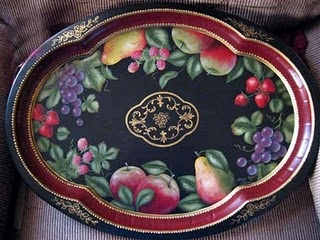 A tray this beautiful is something you would want to display when you aren't using it. This one is tole painted.