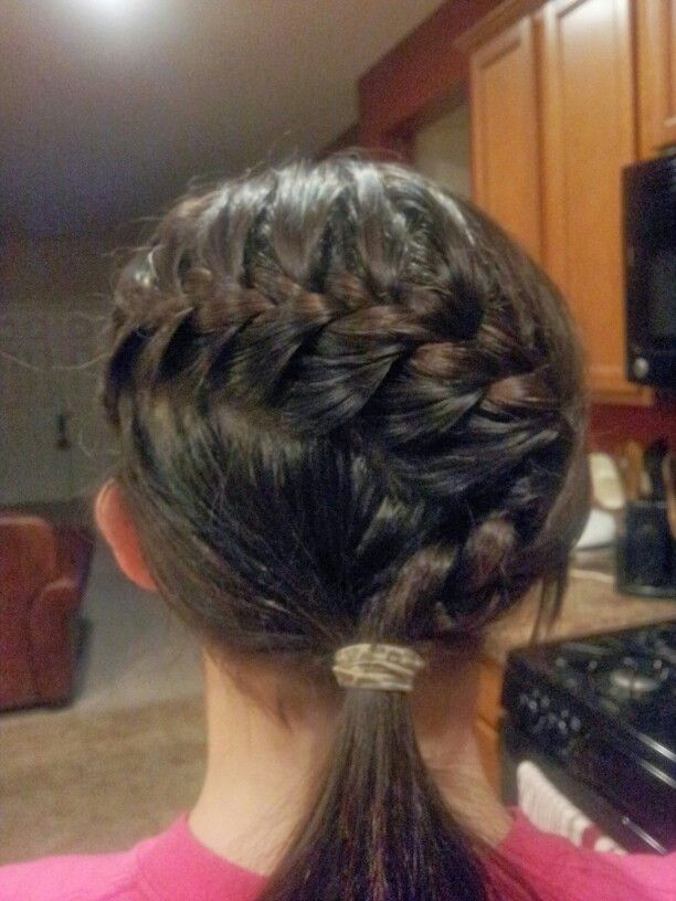 Medium length hairstyle :  simple french braid with a twist at the end