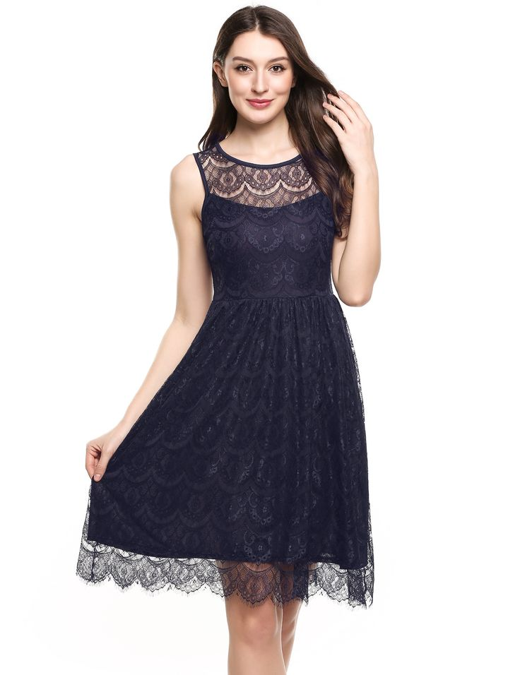 Black O-Neck Sleeveless Floral Lace Tunic Tank Lace Party Dress