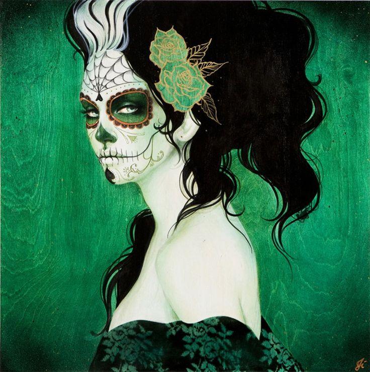 """La Adelita- Sylia Ji    Visi angelici decorati con segni e colori di guerra, """"La Adelita"""" come ricorda la canzone popolare è una donna guerriera che combatteva a fianco dei soldati durante la rivoluzione messicana.        Queste opere vogliono essere un tributo dell'artista nei confronti di ogni atteggiamento rivoluzionario."""