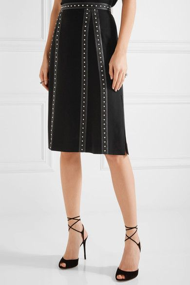 Altuzarra - Steele Studded Satin-trimmed Crepe Skirt - Black - FR44