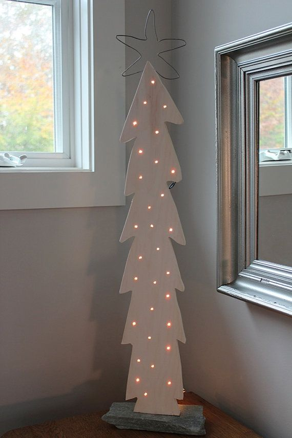 White Lighted Wood Christmas Tree with Pickled Finish, GREAT GIFT From JamsHome