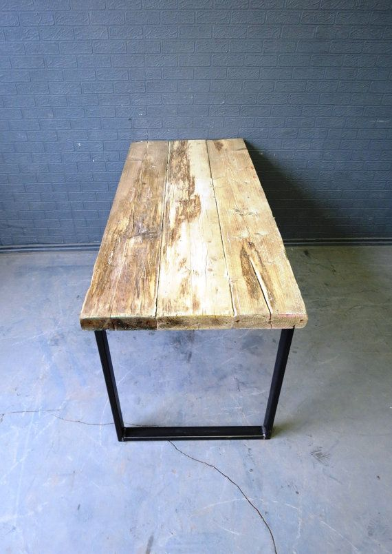 Chic Reclaimed Wood Office Desk l shaped desk reclaimed wood desk wood and steel desk industrial desk Industrial Chic Reclaimed Custom Office Desk Bar Cafe Resturant Tables Steel And Wood Metal Hand Made 083