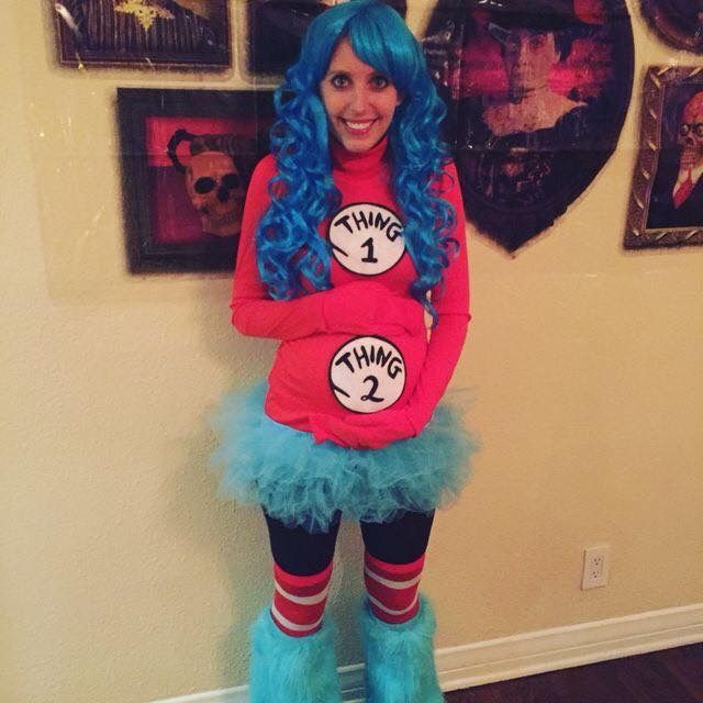 pregnancy costume thing 1 and thing - Pregnant Halloween Couples Costumes