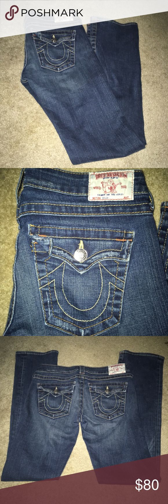 True Religions Jeans Size 29 True Religions Jeans Size 29 inseam approx 32 inches 2 distressed spots pictured awesome condition only wore a few times True Religion Jeans Boot Cut