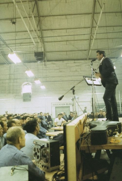 Johnny Cash performing live at his legendary concert at Folsom State Prison in California in January 1968.