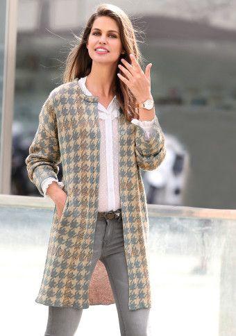 Kabát s potiskem kohoutí stopy #ModinoCZ #kabát #dogtooth