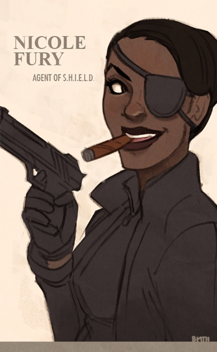 thingsfortwwings: [Fanart: Rule 63'd Nick Fury...