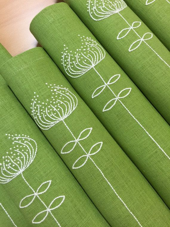 Linen Placemats Embroidery Set of 6 Green Hand Embroidered Placemats Fabric