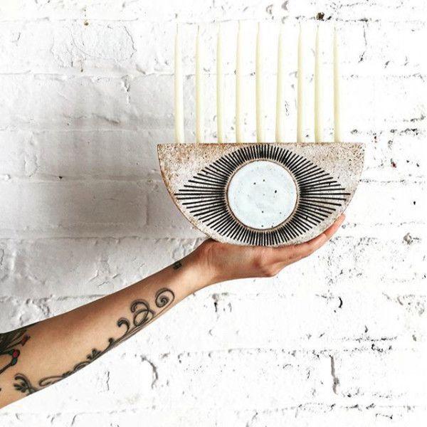 Mod Menorah - How To Decorate For Hannukah Like A Mensch - Photos Arte Judaica, Crochet Game, Bar Mitzvah Invitations, Party Invitations, Hanukkah Decorations, Hannukah, Christmas Mood, Menorah, Southwestern Style