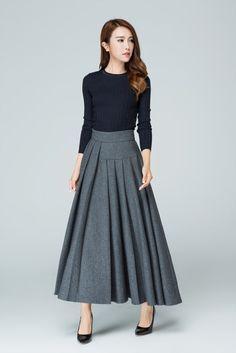 grey skirt, long skirt, wool skirt. pleated skirt, ruffle skirt. ladies skirts…