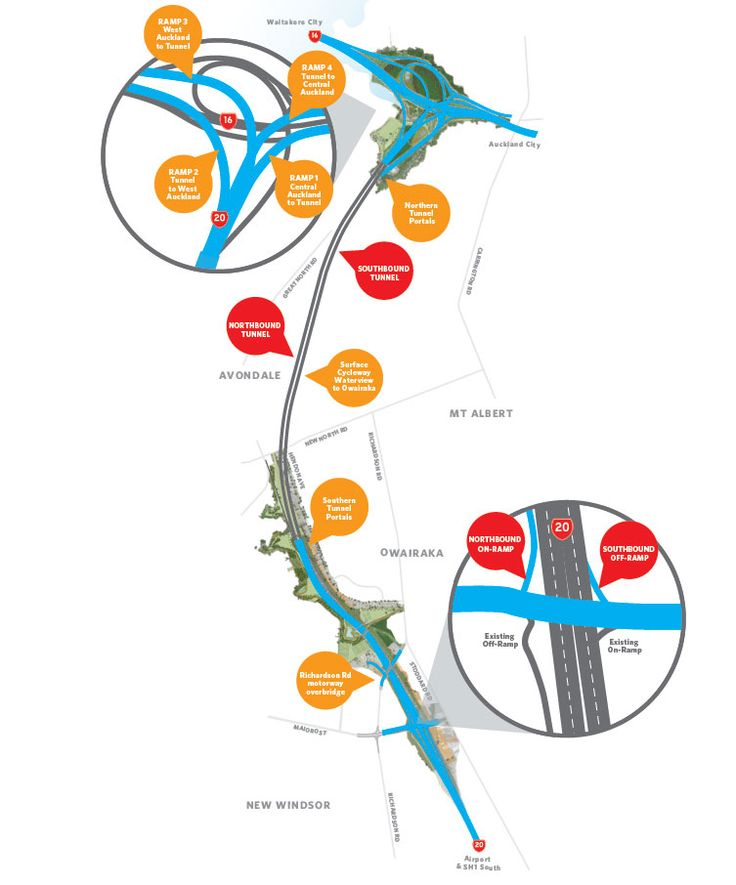 Map showing the key features of the Waterview Connection.