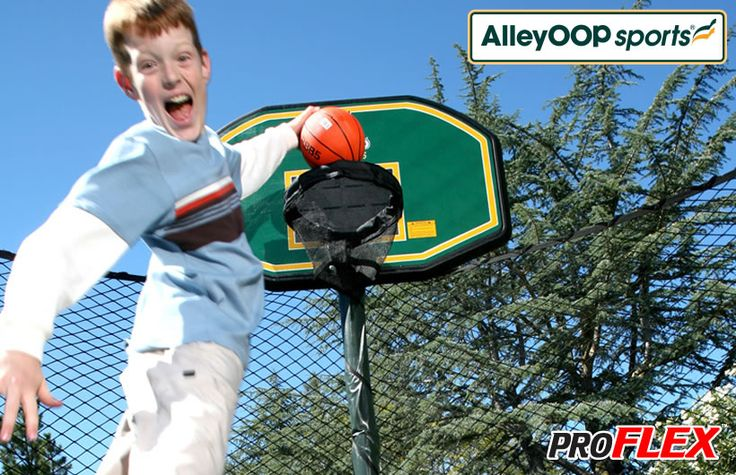 AlleyOOP ProFlex Trampoline Basketball Set - Hoop it up - AlleyOop Style!  Only Our Backboards are Created For Safe Trampoline Play!  Features 4 strong ProFlex springs where hoop mounts to backboard to withstand more vigorous play. #trampoline #basketball