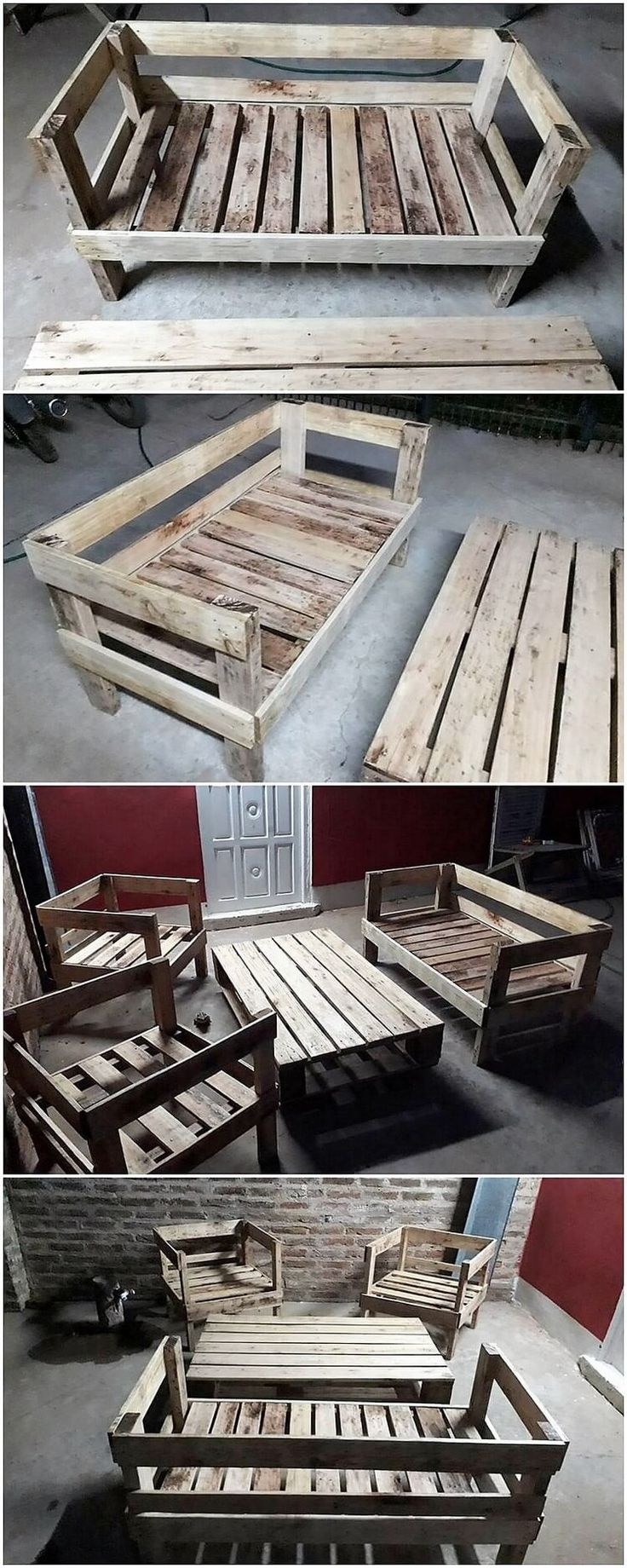 Here we are offering the idea of old wood pallets, into the availing of the mind-blowing designing of outdoor furniture set that is ideal one. This furniture set is meant perfect for your garden location in which you would capture the flavors of the benches with center table to add up with.