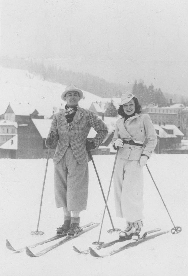 Jan Kiepura z żoną Marthą Eggerth na nartach, 1937 rok