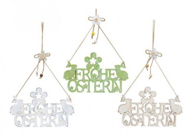 Die Hängedeko FROHE OSTERN ist ein wunderschöner Willkommensgruß an der Haust…
